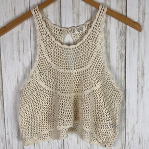 Volcom Babydoll Crochet Lace Hi Low Crop Tank Top